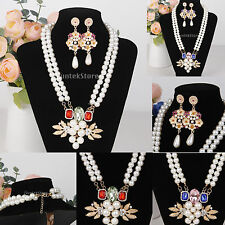 Fashion Pearls Flowers Crystal Rhinestone Pendant Necklace Earring Jewelry Set