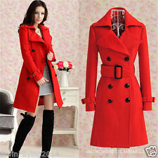 Ladies Double-Breasted Wool Trench Coat Jacket Overcoat Long Outerwear