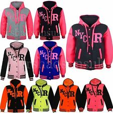 NEW KIDS GIRLS BOYS NYC BASEBALL HOODED JACKET HOODIE R FASHION SIZE 7-13YEAR
