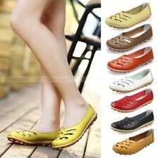 New Womens Ladies Leather Shoes Casual Slip-on Ballet Flats Loafers & Moccasins
