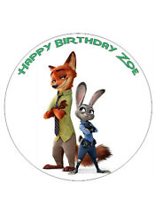 "Zootopia/Zootropolis Personalised Cake Topper 8"" Circle Wafer paper/icing sheet"