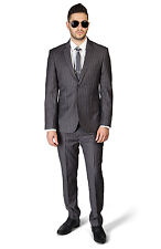 Slim Fit 2 Button Notch Lapel PinStripe Grey Suit Flat Front Pants  By AZAR MAN