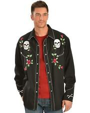 Scully Men's Skull And Roses Embroidered Retro Western Shirt - P-771 BLK