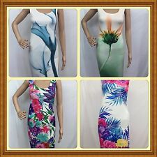 NEW LADIES FLORAL BODYCON TUNIC SUMMER DRESS SIZE 8-14