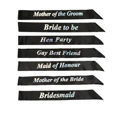 Black Hen Party Sashes Hen Night Do Wedding Bride to Be Bridesmaid Black Glitter