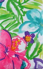 Watercolor Tropical Flowers Abstract Vinyl Flannel Back Tablecloth Various Sizes