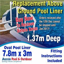 NEW Above Ground Swimming Pool Oval Liner 7.8m x 3.0m & 1.37m deep, 5yr warranty