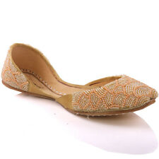 UNZE GIRLS 'JODIE' FLAT LEATHER INDIAN KHUSSA SHOES UK SIZE 1-13 GOLD