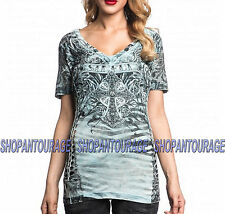SINFUL Anatolia S3765 New Women`s Reversible T-shirt By Affliction