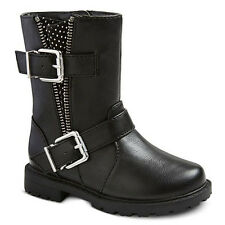 NWOT Cherokee JULIE Black Double Buckle Moto Zipper Boots Shoes Size 12