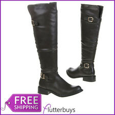 Womens Knee High Riding Boots Low Heel Buckle Winter Grey Khaki Ladies Size New