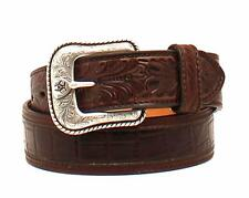 Ariat Western Mens Belt Leather Croco Floral Shield Tooled Brown A1021202