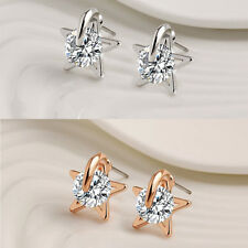 Charm Earrings Lucky Star New CZ Silver Plated Jewelry Stud Earrings New