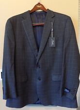 NWT RALPH Ralph Lauren GREY/BLUE Houndstooth Plaid Silk/Wool Jacket/Blazer B&T