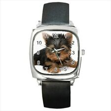 Cute Yorkshire Terrier Round & Square Leather Strap Watch - Puppy Dog