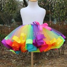 Kids Girl Rainbow Tutu Dress Ballet Dance Skirts Party Tulle Dress Skirt Costume