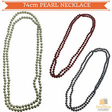 74cm LONG PEARL NECKLACE 1920's Gatsby Flapper Burlesque Gangster Costume Party