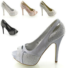 WOMENS HIGH HEEL PLATFORM SATIN LADIES DIAMANTE CRYSTAL BRIDAL PROM SHOES
