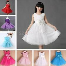 Sweet Sleeveless Bowknot Design Self Tie Ball Gown Dress For Girls Party Dress