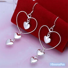 Women Fashion 925 Silver Plated 3 Heart Studs Dangle Earrings Wedding Jewelry
