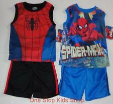 SPIDERMAN Toddler Boys 2T 3T 4T 5T Set OUTFIT Shirt Shorts Tank Top MARVEL Hero