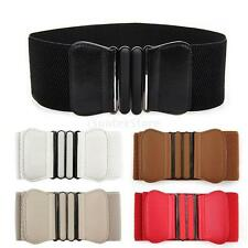 Fashion Women Bowknot Buckle Leather Waistband Wide Elastic Stretch Waist Belt