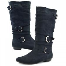 Womens Mid High Suede Boots Ladies Black Slip on Riding Mid Block Heel Boots