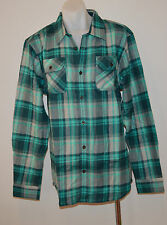 PRANA Mens Long Sleeve Winter Shirts -    GREEN CHECK - SIZE - LARGE - NEW