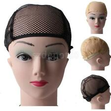 FISHNET WIG Cap Weaving Mesh HAIR NET Elastic Unisex Black Liner with Ear Wings