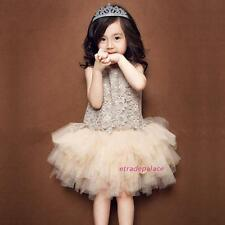 New 2016 Summer Kids Toddlers Princess Lace Flowers Sleeveless Tutu Dresses 3-9Y