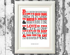 Frank Turner Stray Song Lyric Poster Typography Print Design Print Only