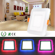 Square Dual Color LED Light Ceiling Recessed Panel Downlight Bulb Lamp 85-245V