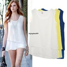 Women ladies Casual Chiffon Sleeveless Multilayer Irregular Tank Top Blouse OO55