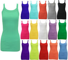NEW LADIES WOMENS STRETCHY SUMMER RIB VEST TOP T SHIRT RIB STRAP SIZE 8 - 14