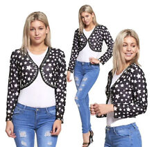 NEW WOMENS LADIES LONG SLEEVE CROPPED STAR PRINT SHRUG BOLERO TOP LOOK CARDIGAN