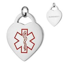 ALZHEIMER'S Stainless Steel Medical Alert Heart Pendant / Charm, Bead Ball Chain