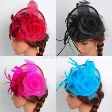Elegent Womens Fascinator Hats Headband Feather Cocktail Wedding Party Headpiece