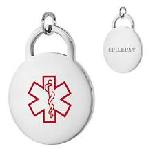 EPILEPSY Stainless Steel Medical Alert Round Pendant / Charm, Bead Ball Chain