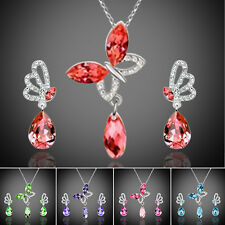 Women Girl Crystal Butterfly Cubic Zircon Necklace Earrings Jewelry Set Gift NEW