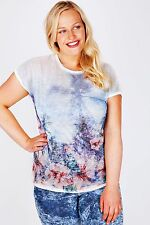 Plus White & Multi Tropical Print Burn Out Jersey Top 16-32