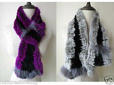 LC02# The Latest fashion/Real rex rabbit fur with silver fox knitted soft scarf/