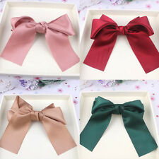 Korean Women Colorful Large Satin Ribbon Bow Hair Clip Barrette Ponytail Holder