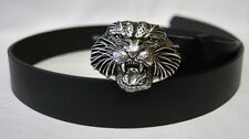Leather belt with Belt buckle Tiger head Wild cat in 3D Tiger in antiqued silver