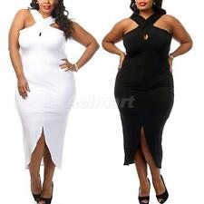 V-Neck Criss-Cross Bodycon Midi Prom Plus Size Dress Women High Low Dress
