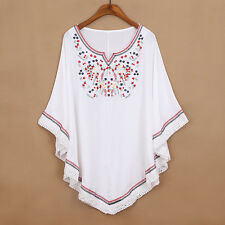 Vintage 70s Mexican Ethnic Floral Embroidered Shirt Top Blouse Batwing 2 Colors