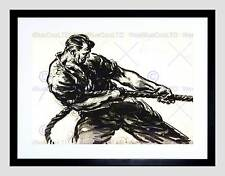 DRAWING DOCKS UK WWII BLACK WHITE CHARCOAL ROPE MAN PULL FRAMED PRINT B12X6717