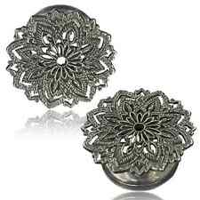 ANTIQUED WHITE BRASS FILIGREE MANDALA FLOWER TUNNELS PLUGS TRIBAL GAUGES PLUG