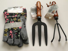 Ladies Garden Tools Set  Wooden Handles Fork Cultivator Heavy Duty Gloves New