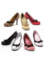 Ellie Shoes Women's 4 Inch Heel Pleated Satin Pump With Lace Trim And Velvet Bow