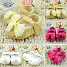 Newborn Baby Girl Shining Anti-slip Bowknot Soft Sole Crib Shoes Prewalker 0-18M